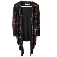 Chico's Travelers Womens Waterfall Open Front Cardigan Sweater Black Size 2