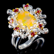 Beauty Rainbow7x5mm Natural Orange Opal 925 Sterling Silver Ring Size 7/R121299