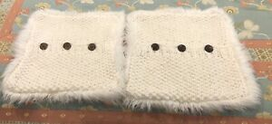 Set of 2 Pottery Barn Cable Knit Button Pillow Cover Cream Ivory Faux Fur Decor