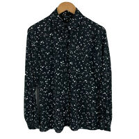 Portmans Blouse Top Womens Size 10 Star Pattern Black White Long Sleeve Collared