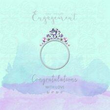 Hochzeit Karte Grußkarte Silber Prägedruck Ehe Diamant Ring 16x16cm