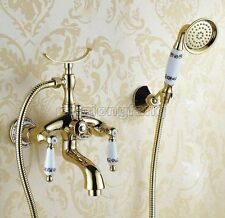 Hot & Cold Gold Wall Mounted Bathroom Taps