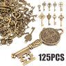 125 Antique Vintage Style Skeleton Keys Old Furniture Heart Charms Pendant Lock