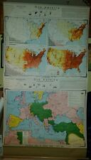 VINTAGE Pull Down School Map Our America - World War I
