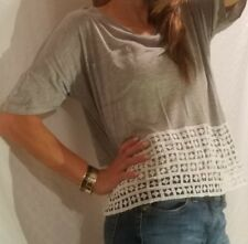 KENSIE GRAY & WHITE T SHIRT SHORT SLEEVE CROCHET LACE FRONT POCKET SIZE S SMALL