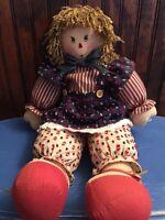 Antique Primitive Raggedy Ann American Flag Holder 19 inch Americana Doll #