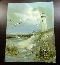 Vintage Seascape Oil Painting on Wood, Signed William Engel, Sea Dunes, Light Ho