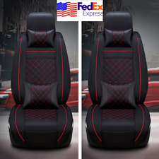 Black+Red Leatherette Car Front Seat Covers Cushion Universal w/ 4 Pillows USA