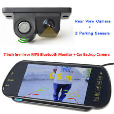 "US-7"" MP5 Bluetooth Car Rearview Mirror Monitor+2 in 1 Car Parking Sensor Camera"