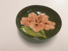 "Moorcroft Hibiscus bowl pink flower on green dish 4.5"" Pedistal"
