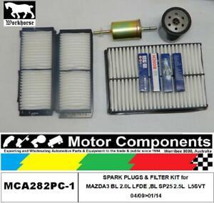 SPARK PLUGS & FILTER KIT for MAZDA3 BL 2.0L LFDE,BL SP25 2.5L  L5SVT 04/09>01/14