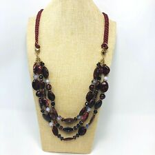 Silk Cord Beaded Necklace Acrylic Marbled Beads Maroon Red Boho Tribal Long
