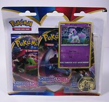 Pokemon Sword & Shield TCG Cards - PONYTA BLISTER 3 PACK Boosters + 1 Coin