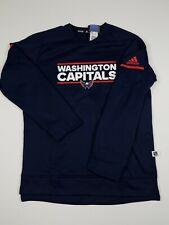 Adidas NHL Washington Capitals Long Sleeve Player Crew Navy L Large Nwt