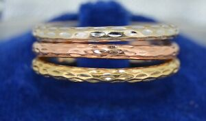 14K Rose White and Yellow Gold Bands SZ 6.5