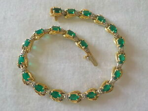 Estate 10K Yellow Gold Emerald Diamond Bracelet - 7 gms, 7 inch, 3.20 ctw
