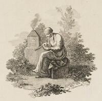 CHODOWIECKI (1726-1801). Die Alte am Experimentierofen; Druckgraphik 1