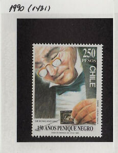 CHILE 1990 STAMP # 1431 MNH BLACK PENNY ROWLAND HILL STAMP ON STAMP