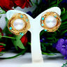 NATURAL 9 mm. ROUND WHITE PEARL & BLUE TURQUOISE EARRINGS 925 STERLING SILVER