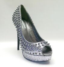 "Madden Girl $149 Pewter ""AWWSOME"" Sparkle Platform Pumps Women's Shoes 9"