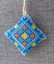 Ukrainian Embroidered Needle Pin Cushion Pillow,Fabric Xmas Ornament Blue 1.5""