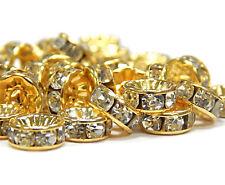 50 Metall Zwischenperlen Gold 8mm Rondell Glas Strass Spacer Perlen BEST R25B