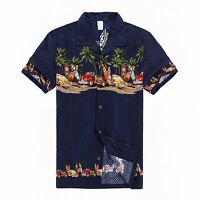 Men Aloha Shirt Cruise Tropical Luau Party Hawaiian Navy Vintage Cars Surf Palm