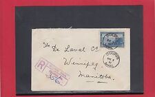 SOURIS, MAN. Registered 1941 cover 13c single usage Canada