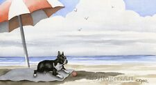 Boston Terrier At The Beach Watercolor Art Print Signed by Artist Djr