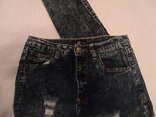 Cello Jeans Juniors Acid Wash High Waist 27 x 31 Super Distressed Size 5  E8