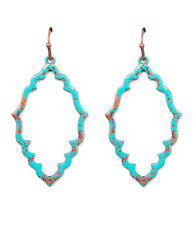 NEW BALI BOHEMIAN VINTAGE PAINT TURQUOISE AND GOLD METAL EARRINGS
