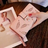 Hot Sale Women Hollow Out Leaf Clutch Purse Card Holder Bifold Leather Wallet