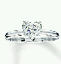 1.5CT BRILLIANT HEART SHAPED CUT SOLITAIRE ENGAGEMENT RING SOLID 14K WHITE GOLD