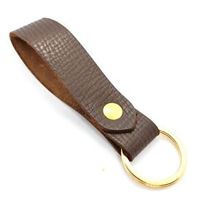 Leather Keyring / Key fob  Brown Russia Hatch Grain leather