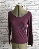 CALVIN KLEIN burgundy top tee t shirt L 12 uk