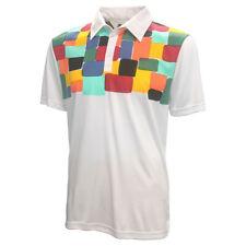 Loudmouth Men's Fancy Technicolor Dream Golf Polo, Small Technicolor