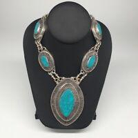 Kuchi Tribal Necklace Afghan Ethnic Turquoise Inlay Turkmen Big Necklace, TN227