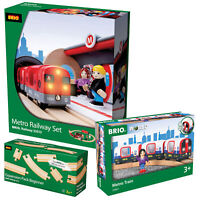 BRIO 33513 Metro Wooden Railway Set with 33867 Tube Train and Extra Track Pack