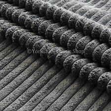 Soft Chunky Super Jumbo Corduroy Upholstery Cushions Sofas Fabric Material Grey
