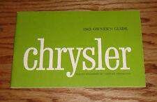 Original 1963 Chrysler Owners Operators Manual 63