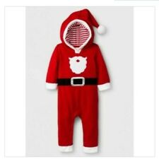 New Baby Boy Cat & Jack Christmas Santa Hooded Red Outfit SZ 12 Months