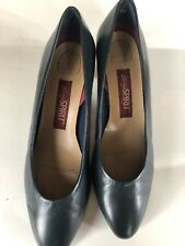 """New Easy Spirit ~ Quality Classic Slip-on Soft Black Leather Shoes, Sz 8 1/2 2""""H"""