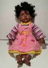 Cathay Collection African American Plastic Cloth Doll Giggles Laughs 20 Inches