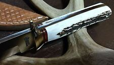 AMERICAN HUNTER STAG FULL TANG HUNTING BOWIE KNIFE W/ SHEATH CASE !!!