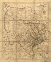 A4 Ristampa Di Americana Città Paesi Stati Mappa Texas