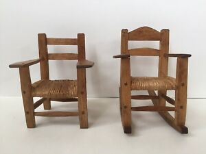 Antique Dollhouse Miniature Ladder Back Chairs with Rush Seats - 1930s