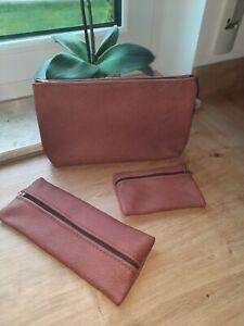 Federmappe + Kosmetiktasche+Geldtasche echtes Leder *Handarbeit Rose