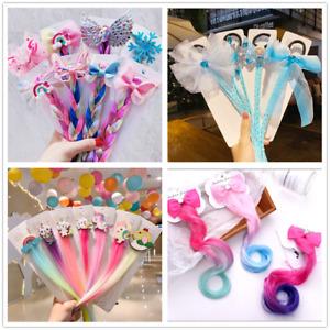 Rainbow Colour Girls Ponytail Hair Extension Kids Party Unicorn Elsa Hair clips
