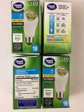 (4-Pack)LED A19 Non-Dimmable Soft White 20000 Hours 18 Years 2700K 9W / 60W Equi