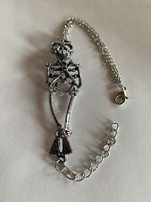 Man Woman Retro Silver Skeleton Skull W-RED BOW Bracelet Chain Bangle-B9406